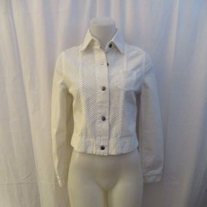 JOE'S WHITE EMBROIDERY CROPPED COTTON JACKET SMALL